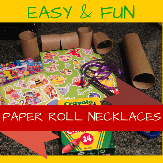 Toddler activity- Paper roll necklaces