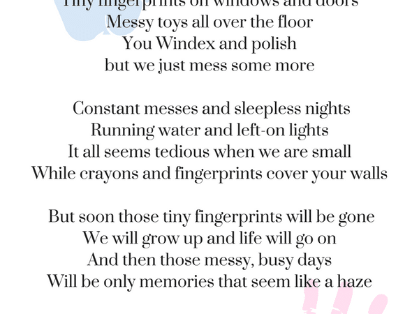 Poem for mom- TINY FINGERPRINTS Mother's Day Poem