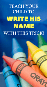 Help your preschooler practice name writing with this trick! This trick to teach kids to write their name is great for fine motor skills and also teaching name recognition. This DIY tip helps kids write their name and be kindergarten ready! #namewriting #preschool #toddler