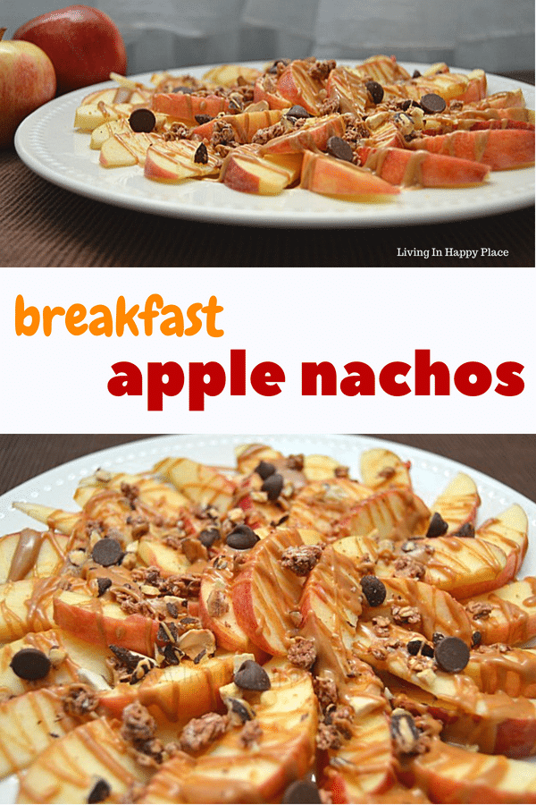 Apple Nachos on a plate for breakfast