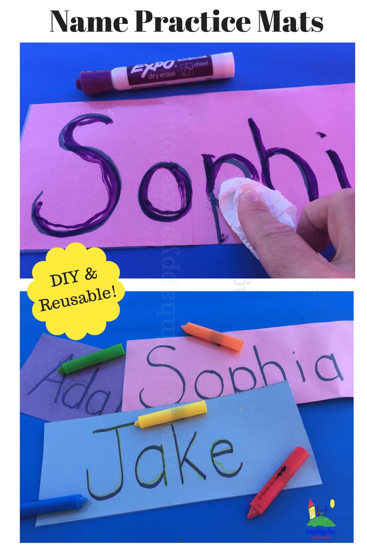 Help kids practice name writing with this DIY reusable name mat