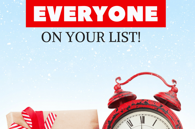 Last minute gift ideas for him, for her, for kids, even for teenager! Christmas is saved with these last minute gift ideas for everyone on your list. You can even find a gift for the person who has everything! #giftguide #giftidea #Christmas