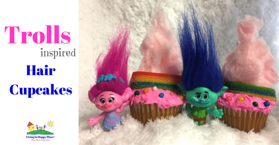Trolls inspired rainbow hair Trolls cupcakes