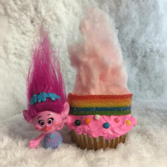 Trolls Inspired! Rainbow Hair Trolls Cupcakes