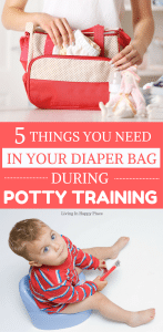 Potty training accident kit- 5 things you need in your diaper bag while potty training. No matter what potty training tips you try or whether you potty train in 3 days or 3 months- accidents happen! Be prepared with these 5 potty training necessities! #pottytraining #toddlers #pottytrain #parenting #kids