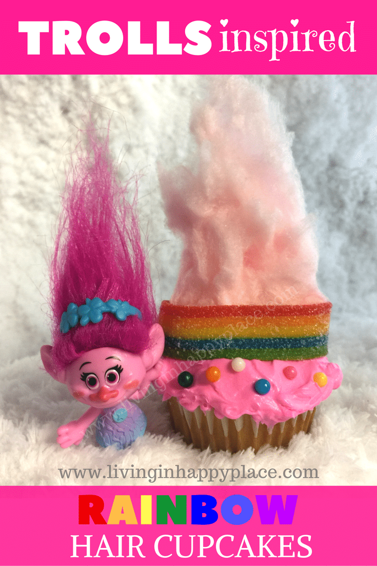 The Trolls movie was a party of cupcakes and rainbows! Celebrate happiness with these DIY Trolls inspired rainbow hair cupcakes. Perfect for a Trolls themed birthday party, movie night, DIY craft, Mommy & Me activity, or Trolls cake idea! Complete your Trolls birthday party ideas with these adorable and easy Troll hair cupcakes! #Trolls #TrollsCupcakes #Cupcakes #TrollsParty