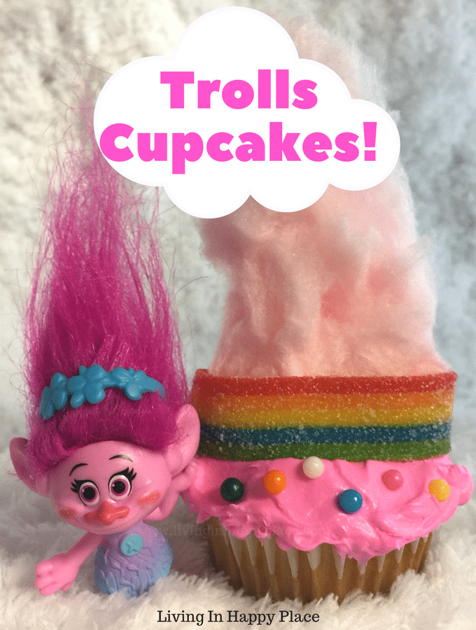 Hair up! Trolls Inspired Rainbow Hair Trolls Cupcakes