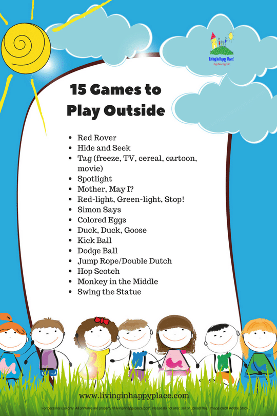 15 Games To Play Outside Printable