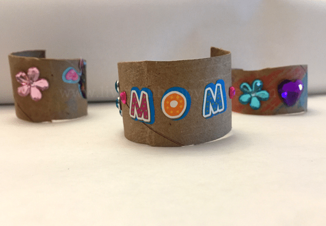 DIY mother's day craft bracelet gift idea. Paper rolls bracelets with stickers