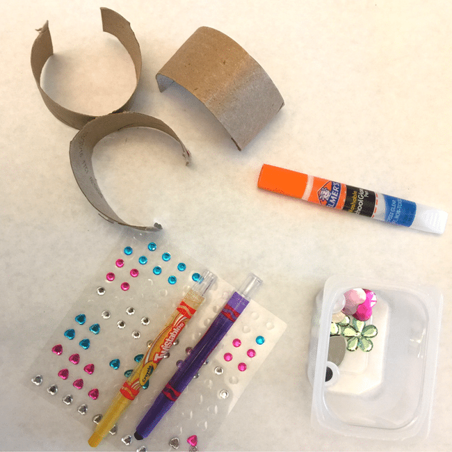 mothers day craft supplies (glue, stickers, paper tubes)
