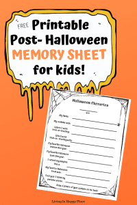 Halloween Memory Sheet for kids