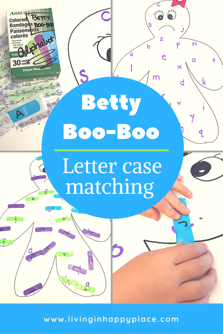 Betty boo-boo is a fun learning activity whether you are preparing for preschool and working on letter recognition or getting ready for kindergarten and mastering letter case matching. This is an easy, DIY learning game and letter matching activity to help your child match uppercase and lowercase letters while building the fine motor skills they will need to start writing. Kindergarten readiness #livinginhappyplace #kidsactivity #learning #preschool #kindergarten #kindergartenactivity #letterrecognition #alphanet #motorskills #kids #education #homeschool #lessonplan
