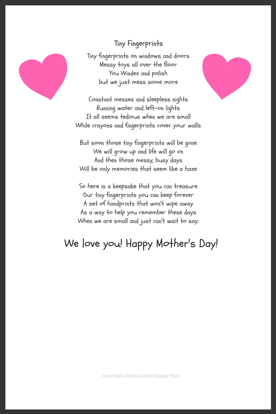photo about Printable Mothers Day Poems referred to as Little Fingerprints- A Poem for Mother upon Moms Working day