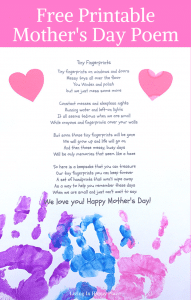 image about Printable Mothers Day Poems named Small Fingerprints- A Poem for Mother upon Moms Working day