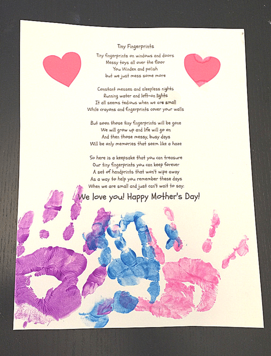 fingerprints poem for mom mother's day