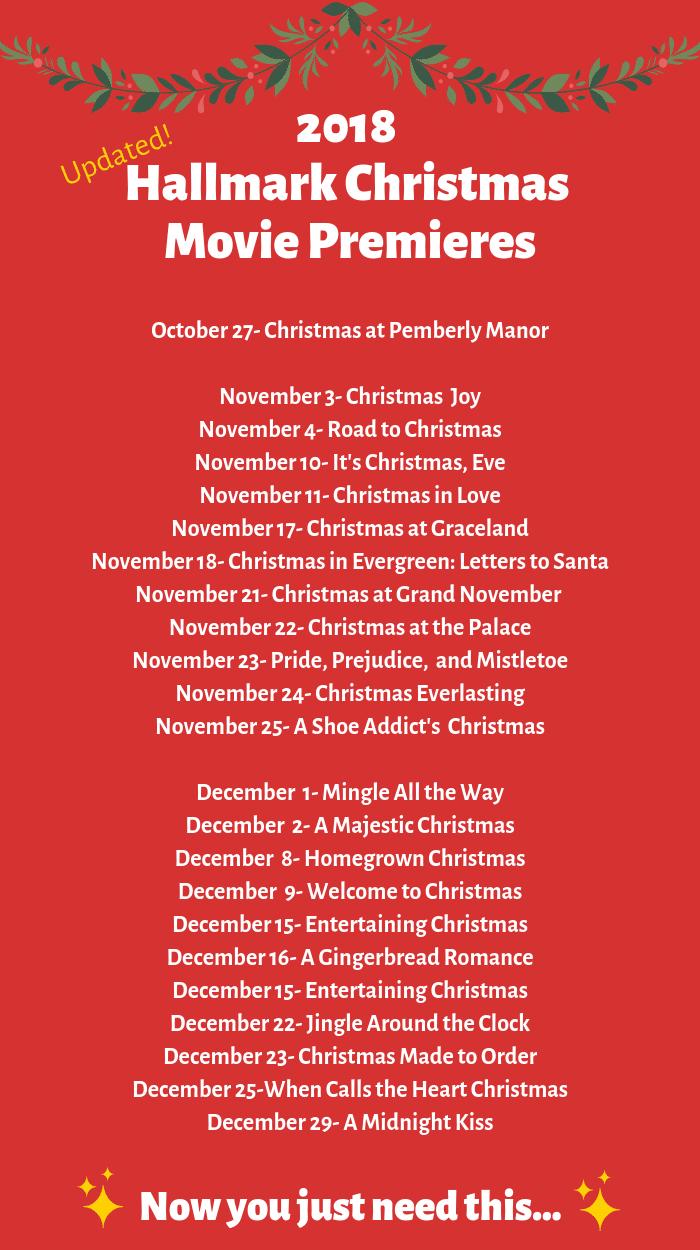 Updated 2018 Hallmark Christmas Movie Schedule