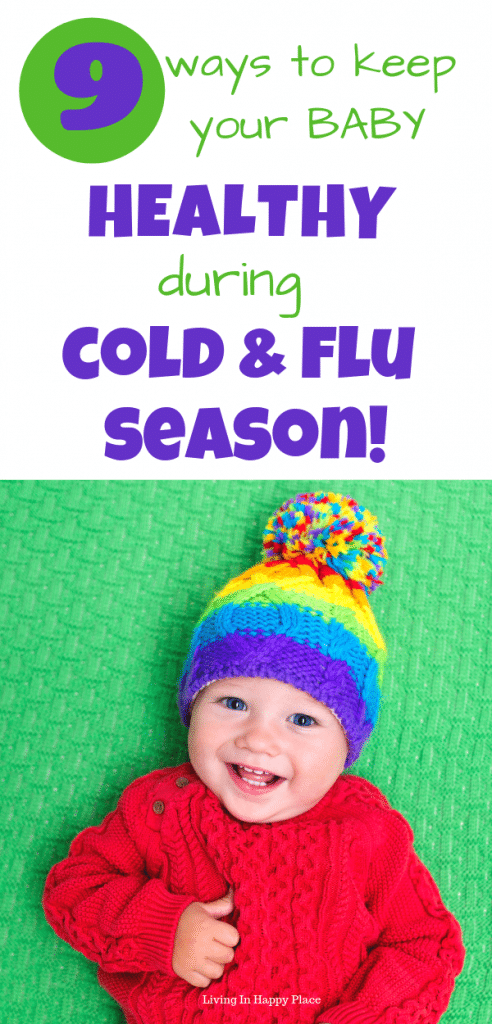Baby wearing hat Baby healthy during flu season
