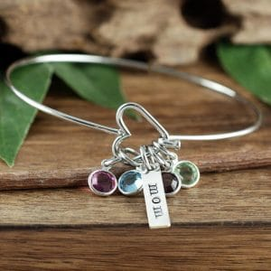 mother birthstone bracelet with heart