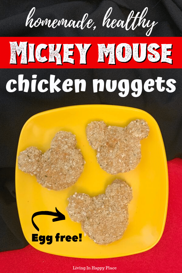 homemade, healthy chicken nuggets shaped like Mickey Mouse